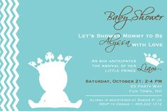 Prince Baby Shower Invitation Printable - Prince Crown Shower Invite Feet - Blue Pink Brown - Baby Shower Girl or Boy Invite - Shower Crown via Etsy