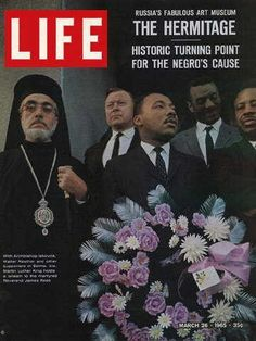 March 26, 1965- Orthodox Archbishop Iakovos marches with Martin Luther King, Jr. during the Civil Rights Movement