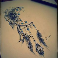 Image result for feather and flower tattoo