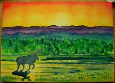 *Adirondack Moose at sunrise, watercolor. 10x14, may 23, 2013