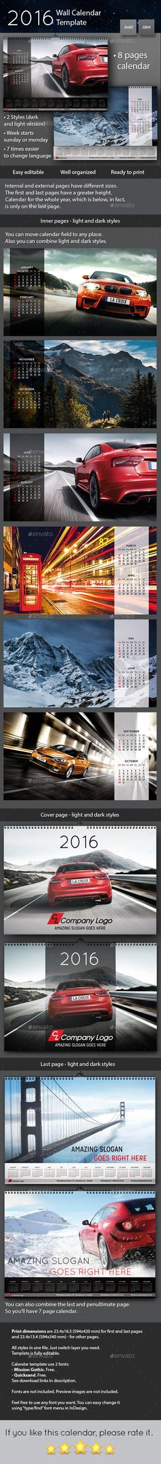 2016 Wall Calendar Template #design Download: http://graphicriver.net/item/2016-wall-calendar-/12065112?ref=ksioks