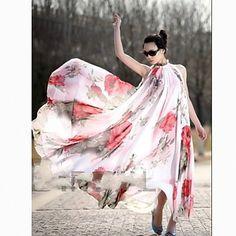 Women's Summer  Elegant Ruffle Hemline Chiffon Dress (No Belt and Random Pattern) – USD $ 17.99