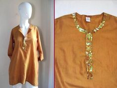 DOSA Barneys NY Standard Issue Simple Kurta 100 Silk Sequin Resort Tunic Top 2 S | eBay