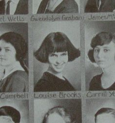 Louise Brooks in the 1922 yearbook for the Wichita High School - just before she joined the Denishawn dance company. Louise Brooks, Hollywood Scenes, In Hollywood, Kansas Day, Sound Film, Magazine Pictures, Hooray For Hollywood, Lost Girl, Jazz Age