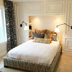 Built in headboard/storage nook with moulding