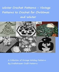 A collection of Christmas and wintertime crochet patterns to make for fun and gifts. Patterns include one yarn craft project that is not crocheted. Includes patterns for filet crochet, potholder patterns, doilies, snowflakes and more.These patterns make great gifts for the holidays and year round.Patterns include:Friends for the Holidays - Yarn and crochet snowmen and SantaA Filet SnowflakeReindeer Table Runner FiletSnowman PotholderChristmas Tree PotholderSnowflake Dinner Placemat…