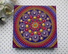 A stone with an energy mandala that will draw prosperity into Mandala Painting, Dot Painting, Mandala Dots, Mandala Design, Pattern Art, Art Patterns, Pattern Designs, Painted Rocks, Original Paintings
