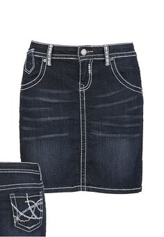 Denim Flex Knee Length Dark Wash Skirt
