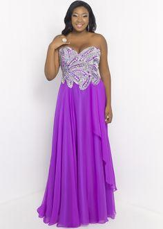 Orchid Purple Plus Size Chiffon Evening Gown - Blush 9056W
