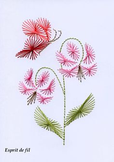 Flower Embroidery Designs, Embroidery Patterns Free, Card Patterns, Embroidery Cards, Embroidery Stitches, Hand Embroidery, String Art Tutorials, String Art Patterns, Stitching On Paper