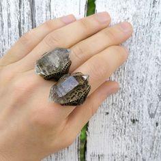 Massive Raw Herkimer Diamond & Bronze Ring -  Natural Raw Geode