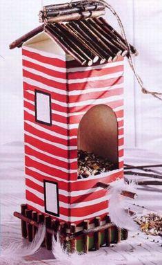 Bird box from a juice carton - tesco magazine Bird box from a juice . - - Bird box from a juice carton – tesco magazine Bird box from a juice … Basteln Vogelkiste aus einem Saftkarton – Tesco Magazin Vogelkiste aus einem Saftkarton – Tesco Magazin Diy For Kids, Crafts For Kids, Diy Crafts, Recycled Crafts, Milk Carton Crafts, Diy Kids Furniture, Bird Houses Diy, Bird Boxes, Valentine's Day Diy