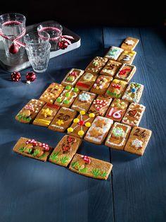 Adventskalender aus Lebkuchen-Plätzchen - für jeden Tag eins