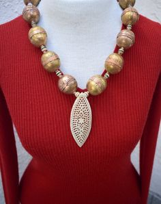 Vintage 12k GOLD Filled Longer Style Gold Bead Ball Necklace  Statement Jewelry Jewellery Gifts For Her