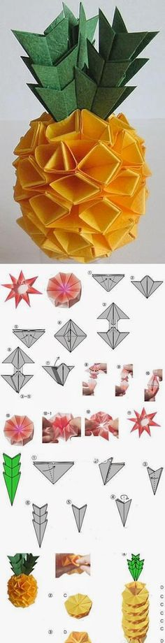 pineapple origami--I'm never making this--but isn't it clever. Such clever things these origami are--is this what students do in Japanese schools? Diy Origami, Origami And Quilling, Origami And Kirigami, Origami Paper Art, Oragami, Diy Paper, 3d Origami Tutorial, Geometric Origami, Fun Crafts