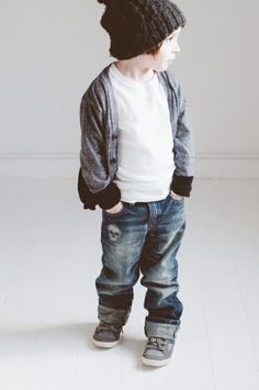 Beanie, baggy jeans, sweater || little boys fashion