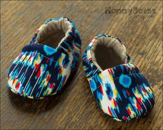Blue Ikat Eco Friendly Baby Booties (0-6 months). $18.99, via Etsy.