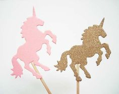 Set of 24Pcs - Pink & Gold Glitter Double Sided 'Unicorn' Party Picks - Birthday, Baby Showers, Weddings, Food Party Picks