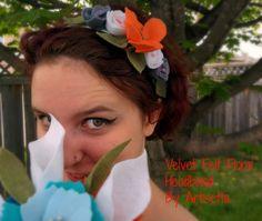 Adult Velvet Flower Headband, Spring Flower Headpiece, Felt Velvet Head Band with Roses, Bridesmaid Hairband by Artisetta on Etsy