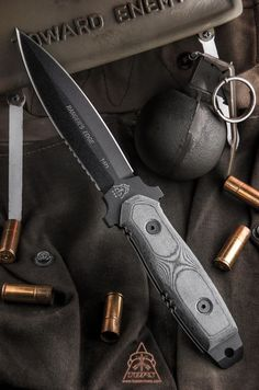 TOPS Knives Rangers Edge DE Tactical Fixed Blade Knife with Micarta (Black SER) RE3010 @aegisgears