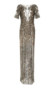 Shop Illusion V-Neck Sequin Embroidered Gown. Naeem Khan's short sleeve gown features an illusion neckline with a fitted silhouette and a column skirt. Lovely Dresses, Beautiful Outfits, Haute Couture Gowns, Prom Dresses 2018, Naeem Khan, Types Of Dresses, Playing Dress Up, Dress Outfits, Fancy Clothes