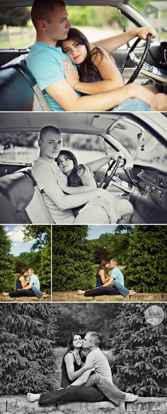 This looks like so much funnnn.   vintage car picnic engagement session in northeast ohio janicki 5