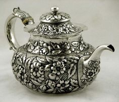 Whiting sterling silver repoussé  teapot,  c1890 (supershrink) this is absolutely beautiful. I wish I could afford, I would have it if I could. Love it, tfs.