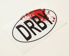 Roller Derby Sticker DRBY Oval With Blood Spatter by FranksSister, $3.00