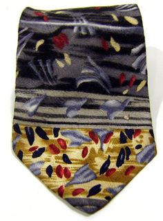 New J. Jerry Garcia Mens Abstract Neck Tie 100% Silk Gray Red Khaki Necktie #JGarcia #NeckTie