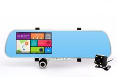 """5.0"""" Touch Android 4.4 ROM Dual lens FHD1080P camera WiFi GPS parking car dvrs Rearview mirror video recorder Car DVR"""