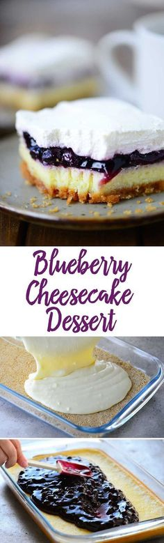 Blueberry Cheesecake Dessert recipe with light airy cheesecake topped with blueberry pie filling and whipped cream. decadent dessert recipe - fun alternative to blueberry pie 13 Desserts, Brownie Desserts, Cheesecake Desserts, Delicious Desserts, Blueberry Cheesecake Bars, Light Desserts, Baking Desserts, Healthy Desserts, Weight Watcher Desserts