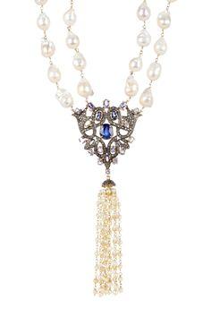 Tanzanite & Genuine Pearl Tassel Necklace on @HauteLook