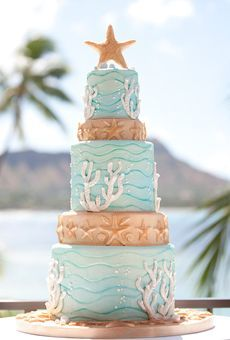 Indian Weddings Inspirations. Ocean theme Wedding Cake. Repinned by #indianweddingsmag indianweddingsmag.com