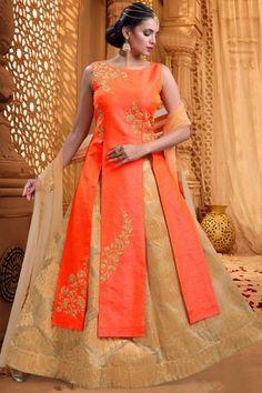 Orange Raw Silk Zari Embroidered Indo Western Lehenga-GC2173