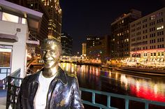 A bronze statue of Arthur Herbert Fonzarelli on the Milwaukee River walk. Henry Winkler portrayed the character on the American Sitcom Happy Days, also set in the city of Milwaukee. Happy days saw the spin off of Laverne and Shirley and also Joanie loves Chachi.