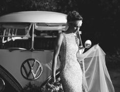 A bird of paradise indie wedding inspiration shoot by Lara Hotz Photography for Hitched Magazine filled with gorgeous wedding dresses and tropical flowers. Indie Wedding Dress, Wedding Car, Gorgeous Wedding Dress, Wedding Bells, Boho Wedding, Dream Wedding, Vw Bus, Bus 3, Combi Ww