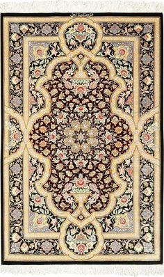 View this intricate brown background fine modern silk Persian Qum rug available for sale at Nazmiyal Antique Rugs in NYC. Persian Carpet, Persian Rug, Persian Pattern, Brown Carpet, White Carpet, Cheap Carpet Runners, Nyc, Patterned Carpet, Textured Carpet