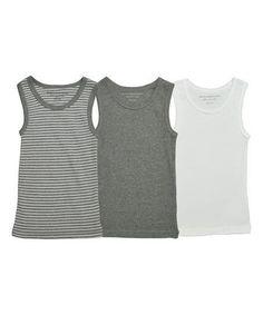 Burts Bees Baby Gray & White Organic Tank Undershirt Set - Infant & Toddler | zulily #babyundershirts