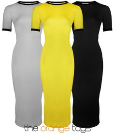 NEW WOMENS LADIES SHORT SLEEVE STRETCH PLAIN BODYCON MIDI MAXI DRESS 8-14 in Clothes, Shoes & Accessories, Women's Clothing, Dresses | eBay