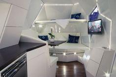 Modern Caravan Interior Design Inspirations: Dark floor and flat surfaces