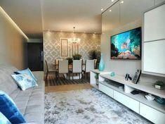 sala de estar com sala de jantar, painelde tv, rack papel de parede