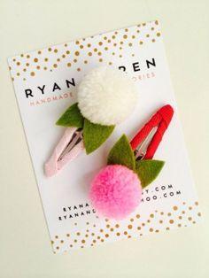 Pom Pom valentines day hair clips