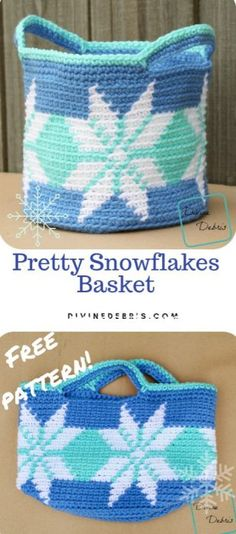 Pretty Snowflakes Basket free crochet pattern by DivineDebris.com  #crochet #freepattern #snowflakes #baskets #homedecor Crochet Gifts, Crochet Home, Diy Crochet, Crochet Winter, Crochet Ideas, Crochet Handbags, Crochet Purses, Crochet Bags, Holiday Crochet Patterns