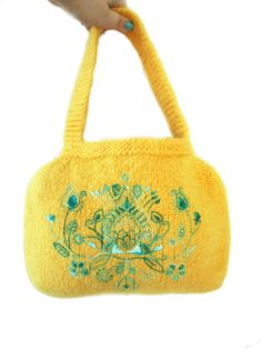Knitted Felted Bag Yellow Bag with Turquoise by MuffinTopKnits