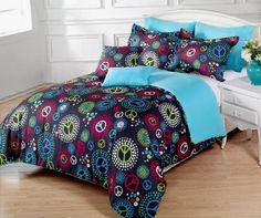 7 Pieces Multi-Colored Peace Sign Black Comforter Set Full / Queen Size Bedding, http://www.amazon.com/dp/B00896PDM2/ref=cm_sw_r_pi_awd_yN0ysb0JAEPZB