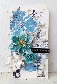 Tag with gesso, scraps of paper, paste, paint + stencils, flowers and resin embellishments. Paint Stencils, Stencil Painting, Facebook Features, Monthly Challenge, Handmade Tags, Embellishments, Finding Yourself, Mixed Media, November