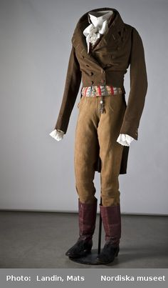 Regency Era (1800-1820) Men's Suit - Lena would wear something like this when dressing like a boy. Jacket, waistcoat, breeches tucked into Hessians.