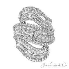 "Diamond ""Ocean's Wave"" Fine Fashion Jewelry Ring."