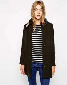 Image 1 ofSessun Sissi Wool Coat with Leather Tab Detail