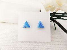 Small Triangle Stud Earrings, Blue, Polymer Clay, Pearlescent